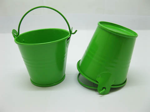 12 Green Mini Tin Pail Bucket 6x55x42cm For Wedding Favor We O74